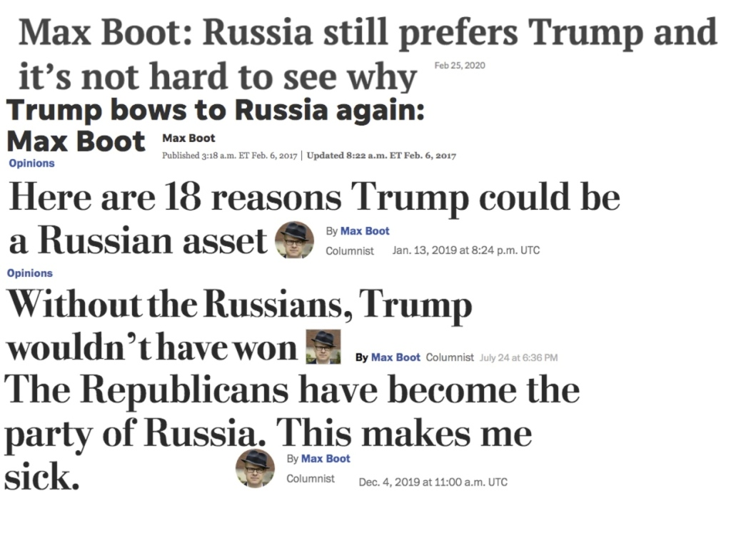 """Manchetes da mídia mainstream ocidental alegando conexões do presidente Trump com """"os russos"""". Via RT."""