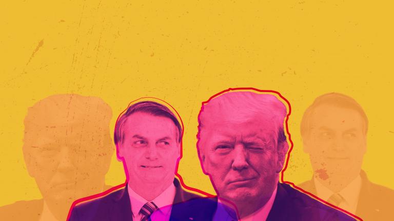 O presidente brasileiro Jair Bolsonaro e seu patrão, Donald Trump. Montagem via CELAG.
