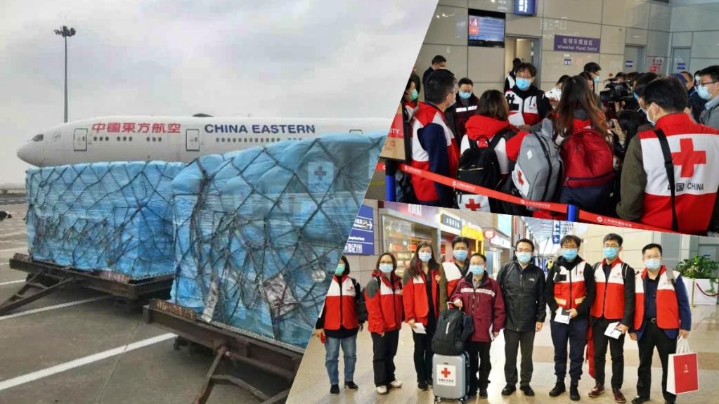 Imagens dos suprimentos e equipes de especialistas médicos enviados pela China à Itália. Via Embaixada da China na Itália. Via Descifrando la Guerra.
