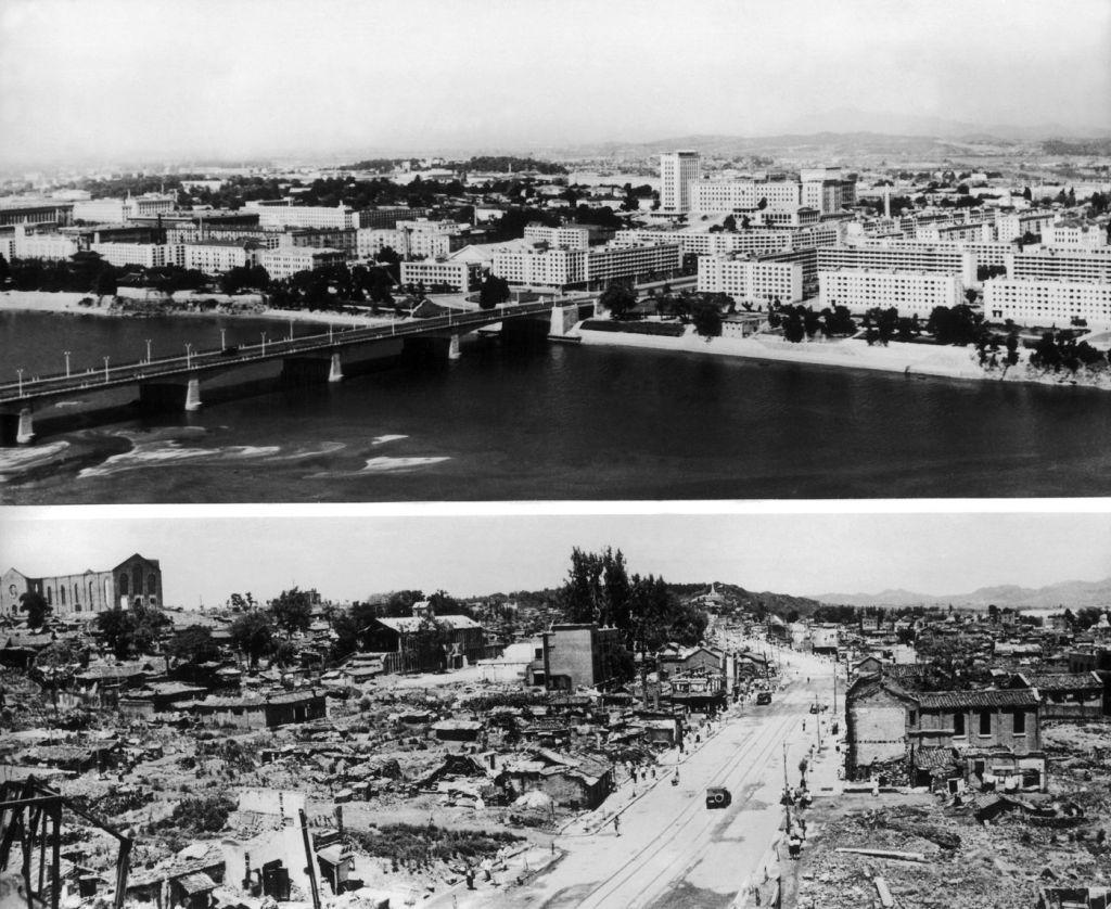 Reconstrução de Pyongyang após a destruição.