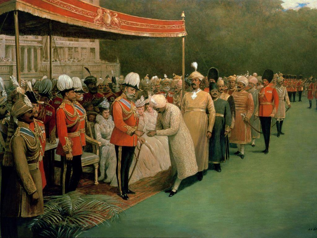 Rei Eduardo VII na recepção dos maharajahs, príncipes indianos, e dignatários anteriormente à sua coroação. Por Albert E. Harris.