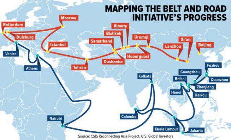 Mapa do projeto chinês da Nova Rota da Seda, que visa integrar em diversas rotas de comércio a Europa, Ásia e África, criando um novo pólo econômico mundial.