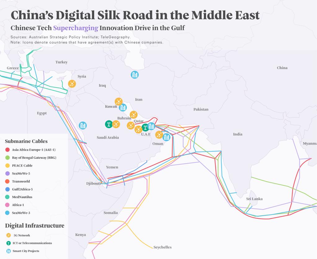 A Rota da Seda Digital. Via Asia Society Policy Institute (abrir em outra aba para aproximar).