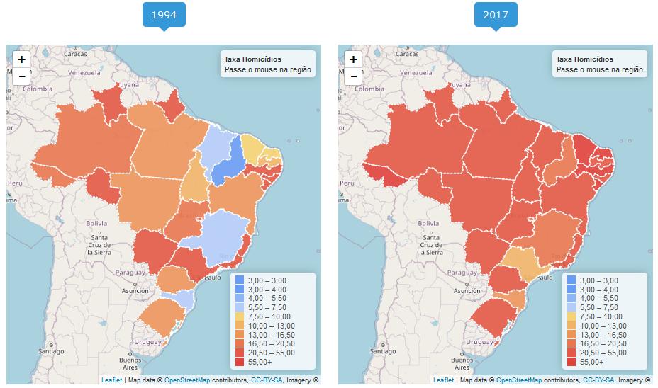 Taxas de homicídio por 100 mil habitantes por estado nos anos de 1994 (esquerda) e 2017 (direita). Dados do Mapa da Violência do IPEA.