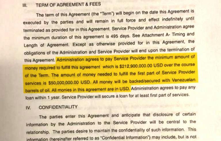 """""""Acordo de Serviços Gerais"""" assinado por Guaidó, valendo mais de 200 milhões de dólares. Na parte grifada lê-se, """"A Administração concorda em pagar ao Provedor de Serviço a quantia mínima de dinheiro necessária para honrar esse acordo que é de US$ 212.900.000,00 ao longo da duração do termo. A quantia de dinheiro necessária para cumprir a primeira parte dos serviços do Provedor é de US$ 50.000.000,00. Todo dinheiro será garantido com barris de petróleo venezuelano. Todo dinheiro neste acordo são em dólares"""". Imagem fornecida por Goudreau à imprensa."""