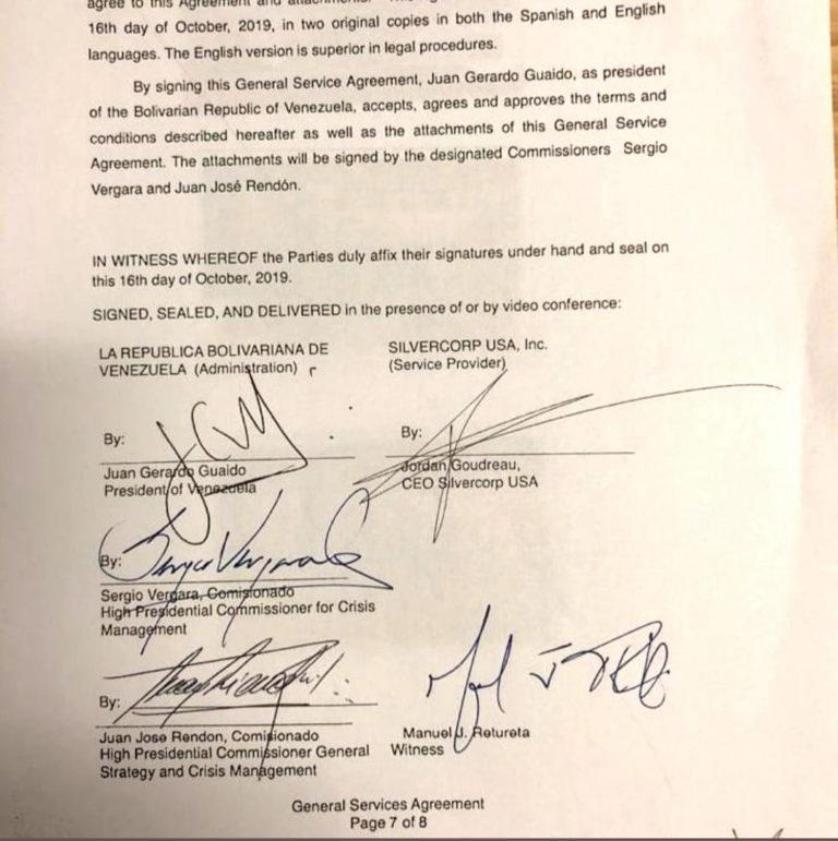 """Assinaturas de (da esquerda para direita) Juan Guaidó, Jordan Goudreau, Sergio Vergara e Juan Rendón, no """"Acordo de Serviços Gerais"""". Imagem fornecida por Goudreau à imprensa."""