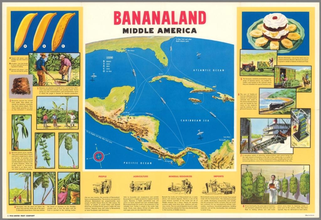 """A """"República das Bananas"""" do rentismo concentra cada vez mais poder e riqueza. Mapa de 1958 produzido pela United Fruit Company, rotulando a América Central como """"Terra das Bananas""""."""