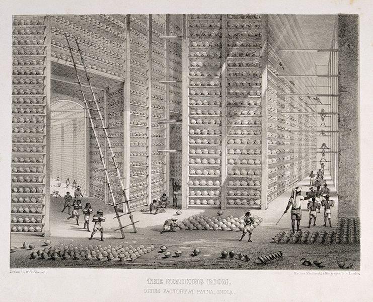 Fábrica e estoque de ópio da Companhia Britânica das Índias Orientais (BEIC) em Patna, Índia, meados do século XIX.