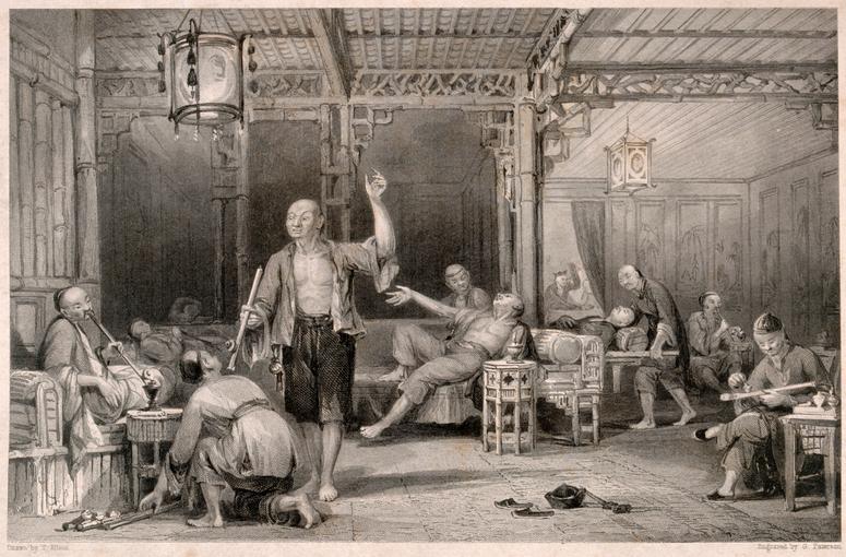 Usuários de ópio na China. Gravura de G. Paterson, meados do século XIX.
