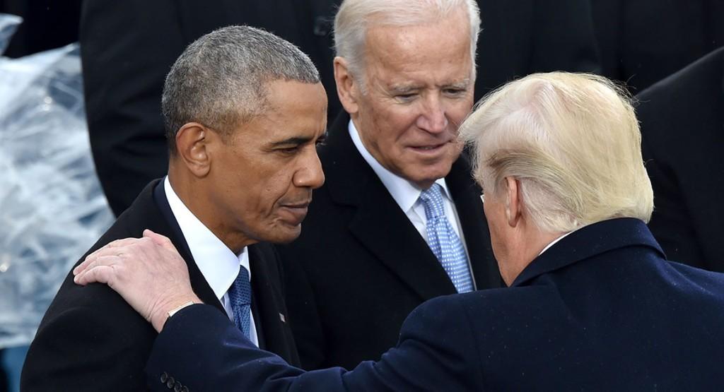 Barack Obama, Joe Biden e Donald Trump, três dos responsáveis pela destruição da Síria. Foto por Paul J. Richards.