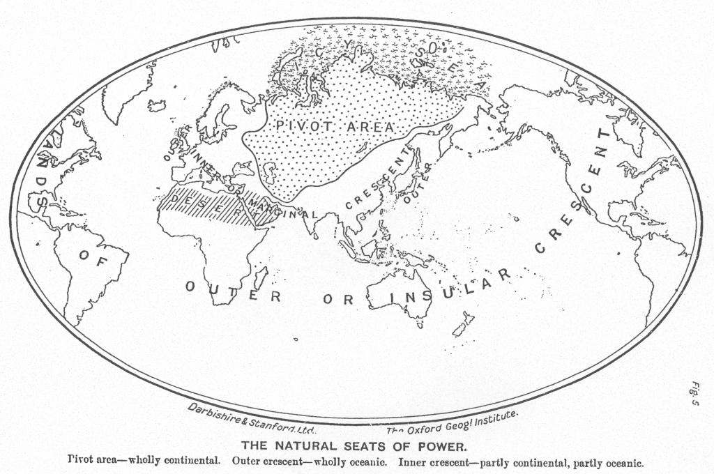 O heartland eurasiano na interpretação do teórico estrategista Halford John Mackinder em sua obra The Geographical Pivot of History de 1904.