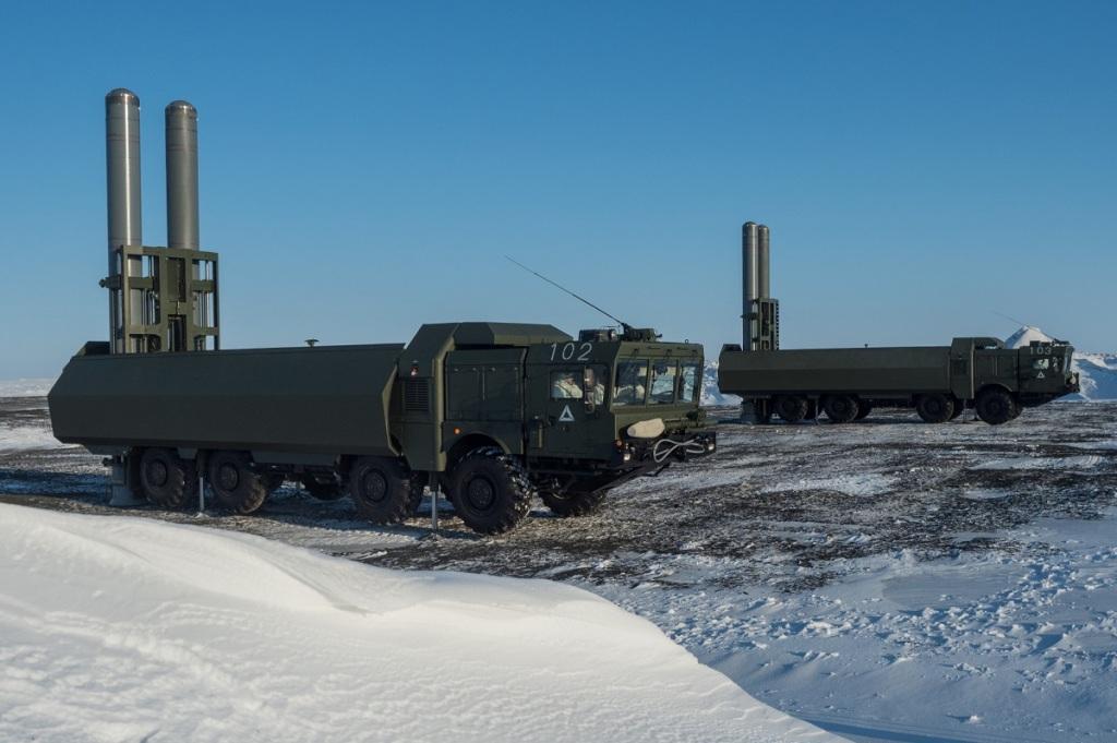 O sistema russo de mísseis costeiros 'Bastion'. Foto via Ministério da Defesa da Rússia.