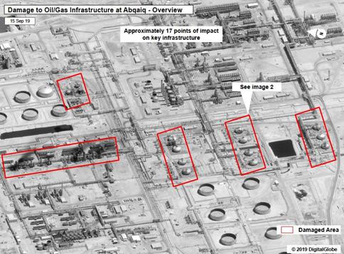 Visão geral dos danos à infraestrutura de gás e petróleo em Abqaiq (áreas danificadas destacadas em vermelho). 15/set/2019.